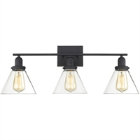 "Picture for category Bathroom Vanity 3 Light Fixture with Black Finish Metal/Glass Material E Bulb 29"" 180 Watts"