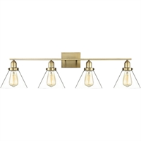 "Picture for category Bathroom Vanity 4 Light Fixture with Warm Brass Finish Metal/Glass Material E Bulb 38"" 240 Watts"