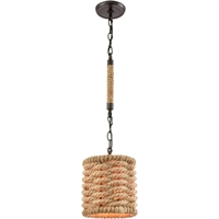 "Picture for category Pendants 1 Light Fixture with Oil Rubbed Bronze Finish Natural Rope/Steel Material E26 10"" 60 Watts"