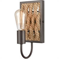 "Picture for category Bathroom Vanity 1 Light Fixture with Oil Rubbed Bronze Finish Natural Rope/Steel Material E26 11"" 60 Watts"