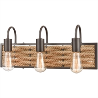 "Picture for category Bathroom Vanity 3 Light Fixture with Oil Rubbed Bronze Finish Natural Rope/Steel Material E26 20"" 180 Watts"
