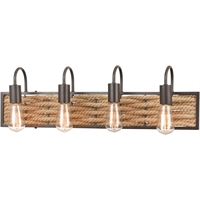 "Picture for category Bathroom Vanity 4 Light Fixture with Oil Rubbed Bronze Finish Natural Rope/Steel Material E26 28"" 240 Watts"