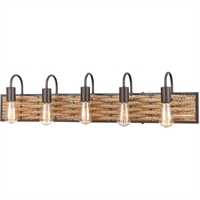 "Picture for category Bathroom Vanity 5 Light Fixture with Oil Rubbed Bronze Finish Natural Rope/Steel Material E26 36"" 300 Watts"