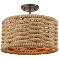 "Picture for category Semi Flush 2 Light Fixture with Oil Rubbed Bronze Finish Natural Rope/Steel Material E26 12"" 120 Watts"