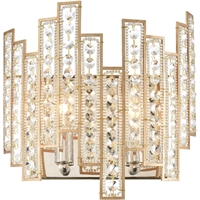 "Picture for category Wall Sconces 2 Light Fixture with Matte Gold with Polished Nickel Finish Glass/Steel Material E12 11"" 120 Watts"