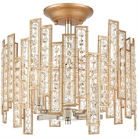 "Picture for category Semi Flush 4 Light Fixture with Matte Gold with Polished Nickel Finish Glass/Steel Material E12 13"" 240 Watts"