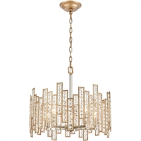 "Picture for category Pendants 5 Light Fixture with Matte Gold with Polished Nickel Finish Glass/Steel Material E12 11"" 300 Watts"