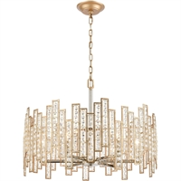 "Picture for category Pendants 6 Light Fixture with Matte Gold with Polished Nickel Finish Glass/Steel Material E12 12"" 360 Watts"