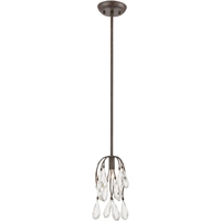 "Picture for category Pendants 1 Light Fixture with Sunglow Bronze Finish Glass/Steel Material E12 10"" 60 Watts"