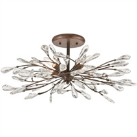 "Picture for category Semi Flush 4 Light Fixture with Sunglow Bronze Finish Glass/Steel Material E12 12"" 240 Watts"