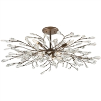 "Picture for category Semi Flush 6 Light Fixture with Sunglow Bronze Finish Glass/Steel Material E12 15"" 360 Watts"