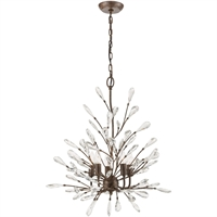 "Picture for category Chandeliers 5 Light Fixture with Sunglow Bronze Finish Glass/Steel Material E12 27"" 300 Watts"