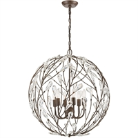 "Picture for category Pendants 6 Light Fixture with Sunglow Bronze Finish Glass/Steel Material E12 27"" 360 Watts"