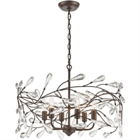 "Picture for category Pendants 6 Light Fixture with Sunglow Bronze Finish Glass/Steel Material E12 13"" 360 Watts"