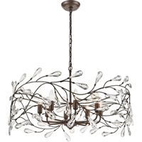 "Picture for category Pendants 8 Light Fixture with Sunglow Bronze Finish Glass/Steel Material E12 13"" 480 Watts"