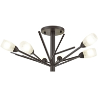 "Picture for category Semi Flush 6 Light Fixture with Oil Rubbed Bronze Finish Glass/Steel Material G9 9"" 240 Watts"