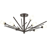 "Picture for category Semi Flush 8 Light Fixture with Oil Rubbed Bronze Finish Glass/Steel Material G9 12"" 320 Watts"