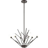 "Picture for category Chandeliers 6 Light Fixture with Oil Rubbed Bronze Finish Glass/Steel Material G9 16"" 240 Watts"