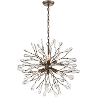 "Picture for category Chandeliers 6 Light Fixture with Sunglow Bronze Finish Glass/Steel Material E12 25"" 360 Watts"