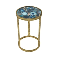 Picture for category World of Industries WOI161285 Tables Blue Agate Metal,Glass Enchant Cosmetics