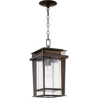 "Picture for category Outdoor Pendant 1 Light Fixtures with Oiled Bronze Finish Medium Incandescent Bulb 8"" 100 Watts"