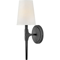 "Picture for category Wall Sconces 1 Light Fixtures with Black Finish Steel Material Candelabra 5"" 60 Watts"