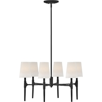 "Picture for category Chandeliers 6 Light Fixtures with Black Finish Steel Material Candelabra 28"" 360 Watts"