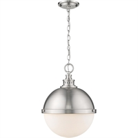 "Picture for category Pendants 2 Light Fixtures with Brushed Nickel Finish Steel Material Medium 15"" 120 Watts"