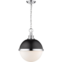"Picture for category Pendants 2 Light Fixtures with Matte Black and Chrome Finish Steel Material Medium 15"" 120 Watts"