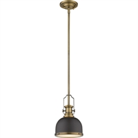 "Picture for category Mini Pendants 1 Light Fixtures with Bronze and Heritage Brass Finish Steel Material Medium 8"" 100 Watts"
