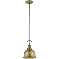 "Picture for category Mini Pendants 1 Light Fixtures with Heritage Brass Finish Steel Material Medium 8"" 100 Watts"