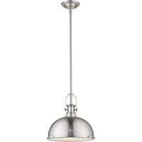"Picture for category Pendants 1 Light Fixtures with Brushed Nickel Finish Steel Material Medium 13"" 100 Watts"