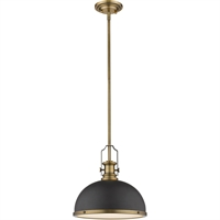 "Picture for category Pendants 1 Light Fixtures with Bronze and Heritage Brass Finish Steel Material Medium 13"" 100 Watts"