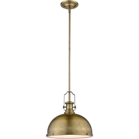 "Picture for category Pendants 1 Light Fixtures with Heritage Brass Finish Steel Material Medium 13"" 100 Watts"