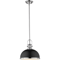 "Picture for category Pendants 1 Light Fixtures with Matte Black and Chrome Finish Steel Material Medium 13"" 100 Watts"