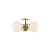 Picture for category Mitzi By Hudson Valley H193603-AGB Semi Flush Aged Brass Steel / Glass Paige