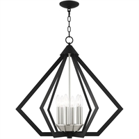 Picture for category Livex Lighting 40926-04 Chandeliers Black with Brushed Nickel Cluster Steel