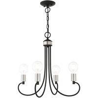 Picture for category Livex Lighting 42924-04 Chandeliers Black with Brushed Nickel Accents Steel