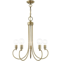 Picture for category Livex Lighting 42925-01 Chandeliers Antique Brass Steel 5-light