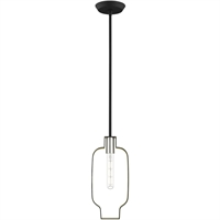 Picture for category Livex Lighting 45512-04 Pendants 7in Black with Brushed Nickel Accents Steel