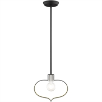 Picture for category Livex Lighting 45513-04 Pendants 12in Black with Brushed Nickel Accents Steel