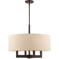 Picture for category Livex Lighting 46166-07 Chandeliers Bronze with Antique Brass Accents Steel