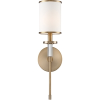 Picture for category RLA Crystorama RL-343235 Wall Sconces Aged Brass Steel and Fabric Hatfield
