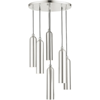 Picture for category Livex Lighting 46756-91 Pendants 19in Brushed Nickel Steel 6-light