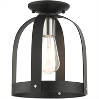 Picture for category Livex Lighting 49641-14 Semi Flush 9in Textured Black Steel 1-light