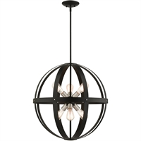 Picture for category Livex Lighting 49646-14 Chandeliers 24in Textured Black Steel 6-light